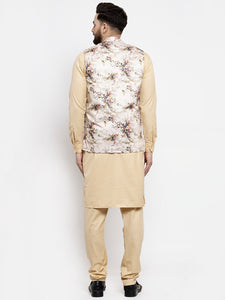Jompers Men Beige Solid Kurta with Churidar & Cream Printed Nehru Jacket