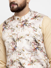 Load image into Gallery viewer, Jompers Men Beige Solid Kurta with Churidar & Cream Printed Nehru Jacket