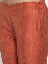 Load image into Gallery viewer, Jompers Women Orange Self-Striped Kurta with Trousers