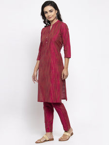 Jompers Women Pink Self-Striped Kurta with Trousers