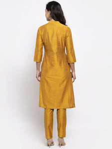 Jompers Women Yellow Self-Striped Kurta with Trousers