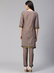 Jompers Women Grey Yoke Design Kurta with Trousers