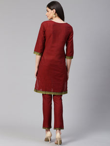 Jompers Women Maroon Yoke Design Kurta with Trousers