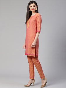 Jompers Women Pink Yoke Design Kurta with Trousers (JOKS 1321 Pink)