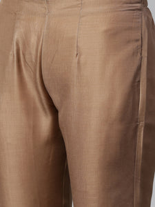 Jompers Women Brown Embroidered Solid Kurta with Trousers