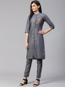 Jompers Women Grey Embroidered Solid Kurta with Trousers