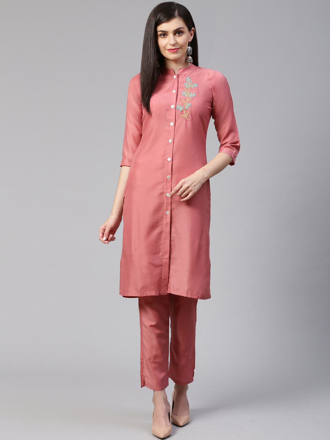 Jompers Women Pink Embroidered Solid Kurta with Trousers