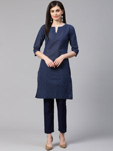 Jompers Women Blue Printed Kurta with Trousers(JOKS 1328 Blue)
