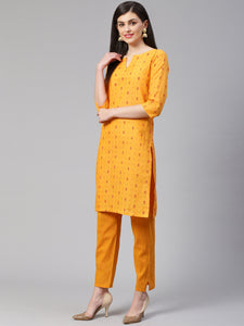 Jompers Women Yellow Printed Kurta with Trousers(JOKS 1328 Yellow)