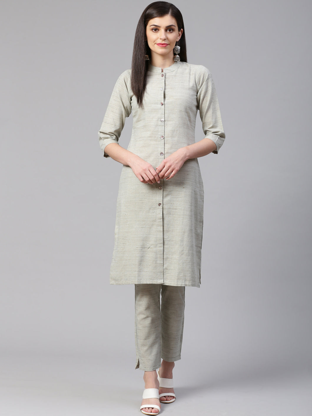 Jompers Women Grey Woven Design Kurta with Trousers (JOKS 1332 Grey)