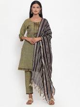 Load image into Gallery viewer, Jompers Women Mustard Solid Kurta with Trousers & Dupatta (JOKS D10B 1321 Mustard)