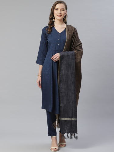 Jompers Women Navy Blue & Charcoal Grey Self Design Kurta with Trousers & Dupatta