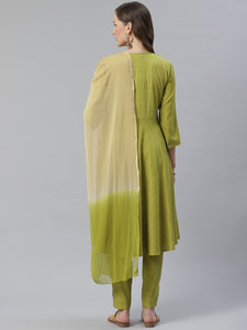 Jompers Women Green & Beige Self Design Kurta with Trousers & Dupatta ( JOKS D13GB 1350 Green )