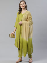 Load image into Gallery viewer, Jompers Women Green & Beige Self Design Kurta with Trousers & Dupatta ( JOKS D13GB 1350 Green )