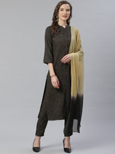 Load image into Gallery viewer, Jompers Women Charcoal Grey & Beige Self Checked Kurta with Trousers & Dupatta ( JOKS D13OB 1359 Olive )