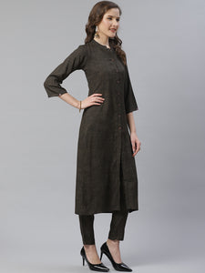 Jompers Women Charcoal Grey & Beige Self Checked Kurta with Trousers & Dupatta ( JOKS D13OB 1359 Olive )
