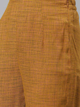 Load image into Gallery viewer, Jompers Women Mustard & Beige Self Checked Kurta with Trousers & Dupatta