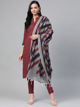 Load image into Gallery viewer, Jompers Women Maroon & Grey Solid Kurta with Trousers & Dupatta