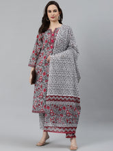 Load image into Gallery viewer, Women Grey & Magenta Block Print Pure Cotton Kurta with Trousers & Dupatta
