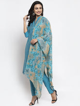 Load image into Gallery viewer, Jompers Women Blue & Green Self-Striped Kurta with Trousers & Printed Dupatta