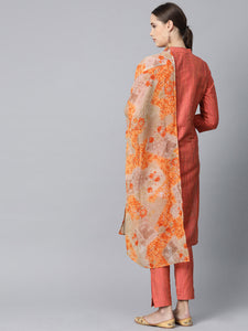 Jompers Women Rust Orange & Beige Self-Striped Kurta with Trousers & Dupatta