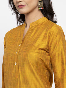 Jompers Women Yellow Self-Striped Kurta with Trousers & Floral Gorgette Dupatta