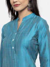 Load image into Gallery viewer, Jompers Women Blue & Green Self-Striped Kurta with Trousers & Printed Georgette Dupatta