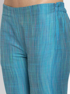 Jompers Women Blue & Green Self-Striped Kurta with Trousers & Printed Georgette Dupatta