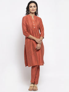 Jompers Women Orange Self-Striped Kurta with Trousers & Georgette Dupatta