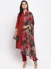 Load image into Gallery viewer, Jompers Women Red Self-Striped Kurta with Trousers & Georgette Dupatta