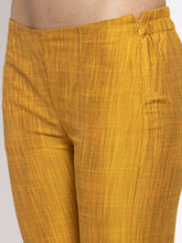 Load image into Gallery viewer, Jompers Women Yellow Self-Striped Kurta with Trousers & Gorgette Dupatta