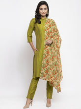 Load image into Gallery viewer, Jompers Women Green Self-Striped Kurta with Trousers & Floral Georgette Dupatta