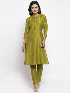Jompers Women Green Self-Striped Kurta with Trousers & Floral Georgette Dupatta
