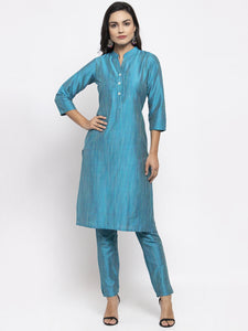 Jompers Women Blue & Green Self-Striped Kurta with Trousers & Floral Georgette Dupatta