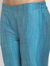 Load image into Gallery viewer, Jompers Women Blue & Green Self-Striped Kurta with Trousers & Floral Georgette Dupatta