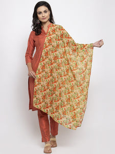 Jompers Women Orange Self-Striped Kurta with Trousers & Floal Georgette Dupatta