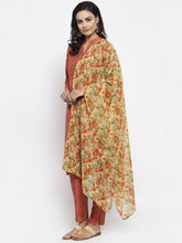 Load image into Gallery viewer, Jompers Women Orange Self-Striped Kurta with Trousers & Floal Georgette Dupatta
