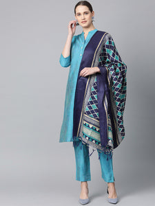 Jompers Women Blue & Green Self-Striped Kurta with Trousers & Dupatta
