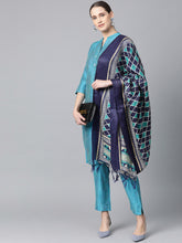 Load image into Gallery viewer, Jompers Women Blue & Green Self-Striped Kurta with Trousers & Dupatta