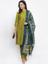 Load image into Gallery viewer, Jompers Women Green Self-Striped Kurta with Trousers & Art Silk Dupatta