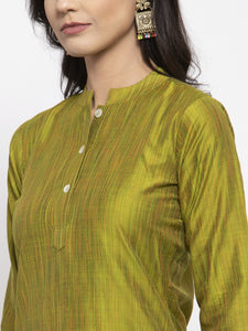 Jompers Women Green Self-Striped Kurta with Trousers & Art Silk Dupatta