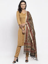 Load image into Gallery viewer, Women Beige & Black Striped Kurta with Trousers & Printed Dupatta