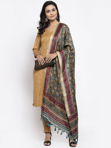 Women Beige & Black Striped Kurta with Trousers & Green Printed Dupatta