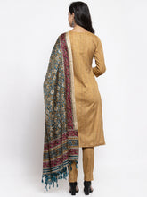 Load image into Gallery viewer, Women Beige & Black Striped Kurta with Trousers & Green Printed Dupatta