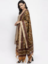 Load image into Gallery viewer, Women Grey Striped Kurta with Trousers & Mustard Printed Dupatta