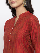 Load image into Gallery viewer, Jompers Women Red Self-Striped Kurta with Trousers & Art Silk Dupatta