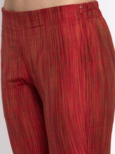 Jompers Women Red Self-Striped Kurta with Trousers & Art Silk Dupatta