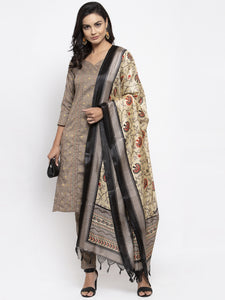 Women Grey Striped Kurta with Trousers & Beige-Red Printed Dupatta