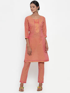 Jompers Women Pink Solid Kurta with Trousers & Dupatta