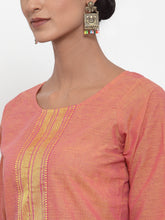 Load image into Gallery viewer, Jompers Women Pink Solid Kurta with Trousers & Dupatta